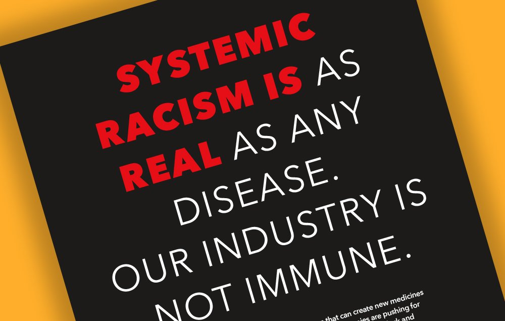 An image displaying the top portion of PhRMA's Diversity, Equity, and Inclusion print ad, with text visible reading